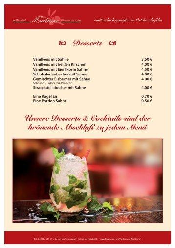 Restaurant Mediterran - Dessert- & Cocktailkarte