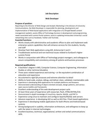 Job Description Job Purpose Key Responsibilities