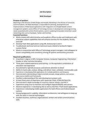 Job Description Web Developer Purpose Of Position   Immaculata .