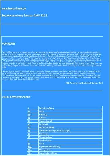 www.bayer-frank.de Betriebsanleitung Simson AWO 425 S ...