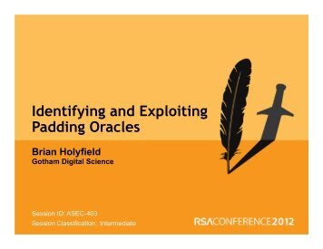 The Padding Oracle Attack - RSA Conference