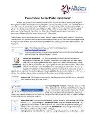 PowerSchool Parent Portal Quick Guide - The Academy