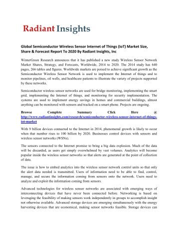 Global Stationary Semiconductor Wireless Sensor Internet of Things (IoT) Market Growth and Forecast Report To 2020: Radiant Insights, Inc
