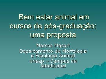 Bem estar animal em cursos de pós-graduação: uma proposta - ETCO