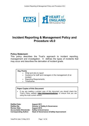 Incident Reporting Policy Rotherham Doncaster And South Humber