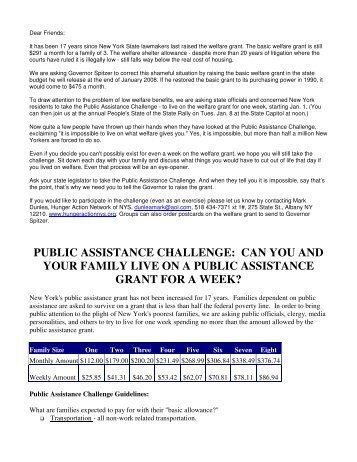public assistance challenge - Hunger Action Network in NYS
