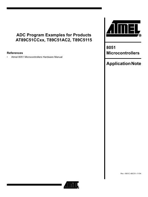 ADC Program Examples for Products     - Atmel Corporation