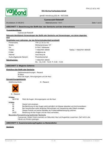 Technisches Datenblatt / Sicherheitsdatenblatt für 1231 als PDF