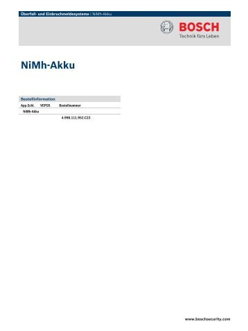 NiMh-Akku - Bosch Security Systems