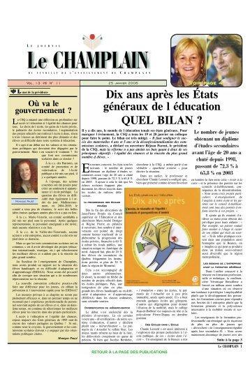 Dix ans après les États généraux de l éducation QUEL BILAN ?