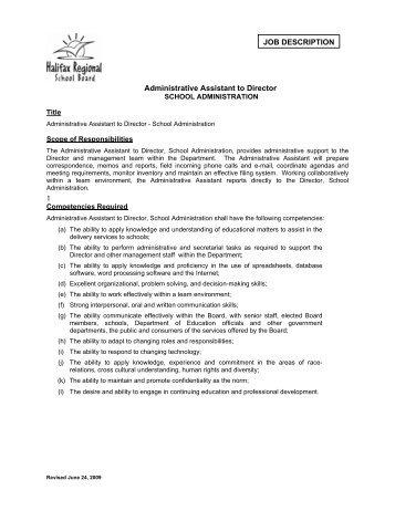 JOB DESCRIPTION Administrative Assistant to Director