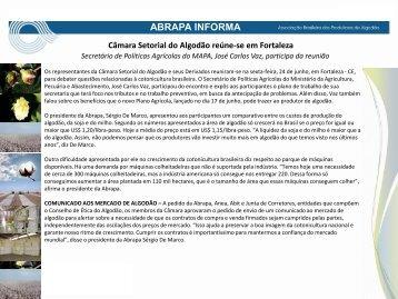 Câmara Setorial do Algodão reúne-se em Fortaleza – pdf - Abrapa