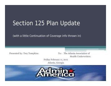 Section 125 Plan Update - Atlanta Association of Health Underwriters