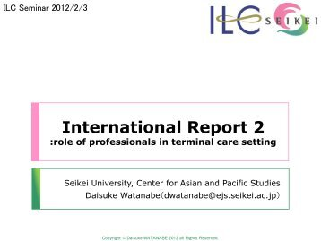 2)The end-of-life care and roles of professionals in each country