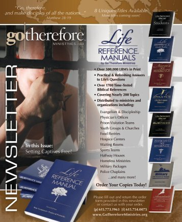 Spring 2012 - LIFE REFERENCE MANUALS by Go Therefore ...