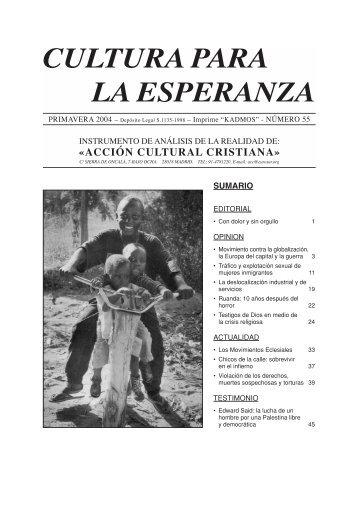 CULTURA PARA LA ESPERANZA - Acción Cultural Cristiana
