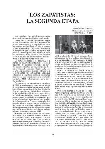 LOS ZAPATISTAS: LA SEGUNDA ETAPA