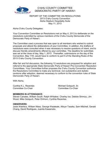 O'AHU COUNTY COMMITTEE DEMOCRATIC PARTY OF HAWAI'I