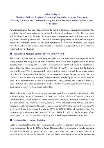 Aging in Japan National Policies,Regional Issues,and Local ...