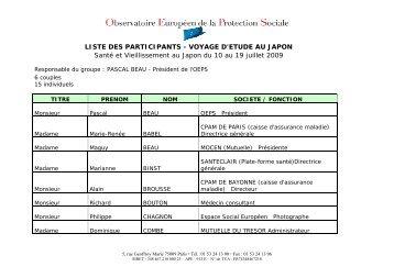 LISTE DES PARTICIPANTS - VOYAGE D'ETUDE AU JAPON