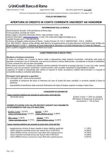 APERTURA DI CREDITO IN CONTO CORRENTE UNICREDIT AD ...
