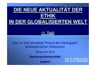 Die neue Aktualität der Ethik in einer globalisierten Welt - Senioren ...