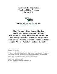 Skutt Catholic High School Track and Field Program Spring 2013 ...