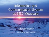 Information and Communication System at BEO Moussala