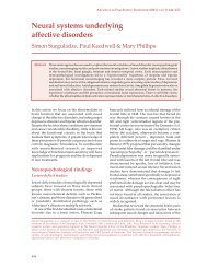 Neural systems underlying affective disorders - Advances in ...
