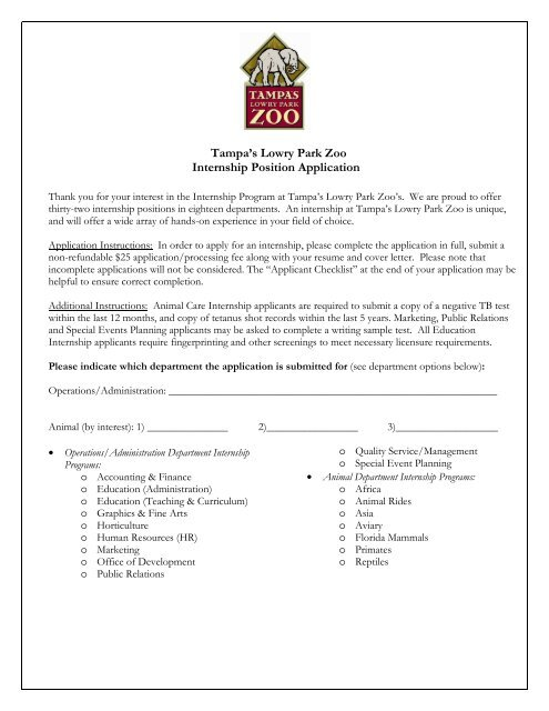 Intern Application 2011 UPDATED April - Tampa\'s Lowry Park Zoo