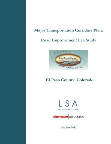 Road Improvement Fee Study El Paso County, Colorado