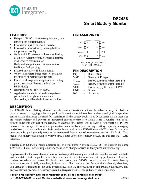DS2438 Smart Battery Monitor - Maxim