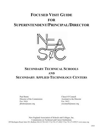secondary focused visit guide - CTCI - New England Association of ...