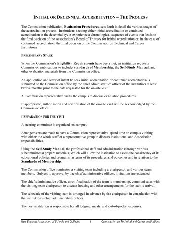 initial or decennial accreditation – the process - CTCI - New England ...