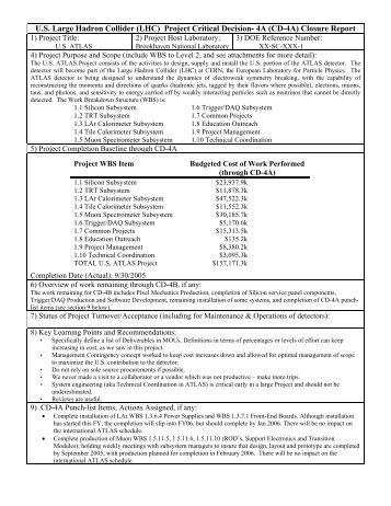 (CD-4A) Closure Report - US Atlas - Brookhaven National Laboratory