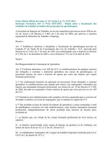 Instrução Normativa SIT nº 97/2012