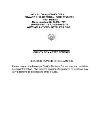 Petition Municipal Office Primary Atlantic County Clerk
