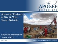 Advanced Projects In World Class Silver Districts - Apogee Silver
