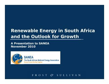 Renewable Energy in South Africa and the Outlook for ... - SANEA