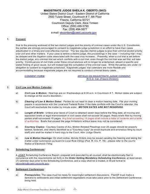 Court Procedures - Eastern District of California
