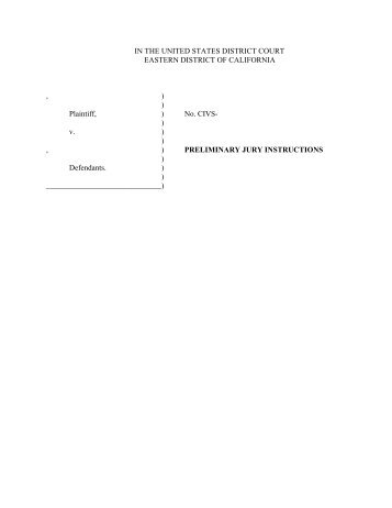 Civil Pro Se Jury Instructions Eastern District Of California