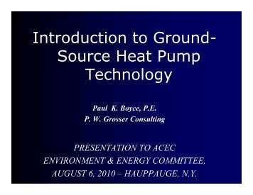 Geothermal Heat Systems — Paul Boyce