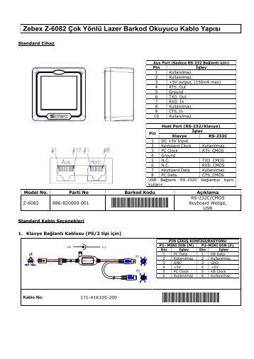 Zebex Z-6082 Çok Yönlü Lazer Barkod Okuyucu Kablo Yapısı