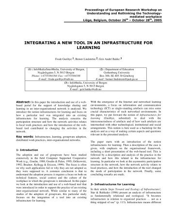 integrating a new tool in an infrastructure for learning - Interaction ...