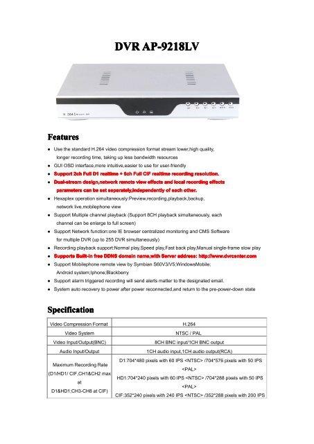 DVR AP-9218LV - Tradekey