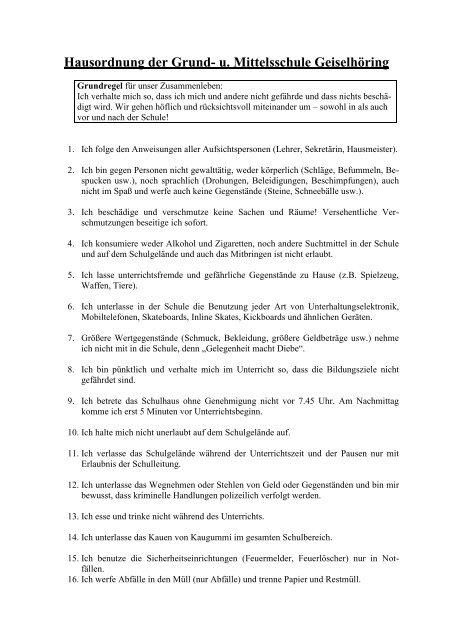 Hausordnung - Grundschule - Mittelschule Geiselhöring