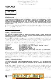 swahili - StudyGuide.PK