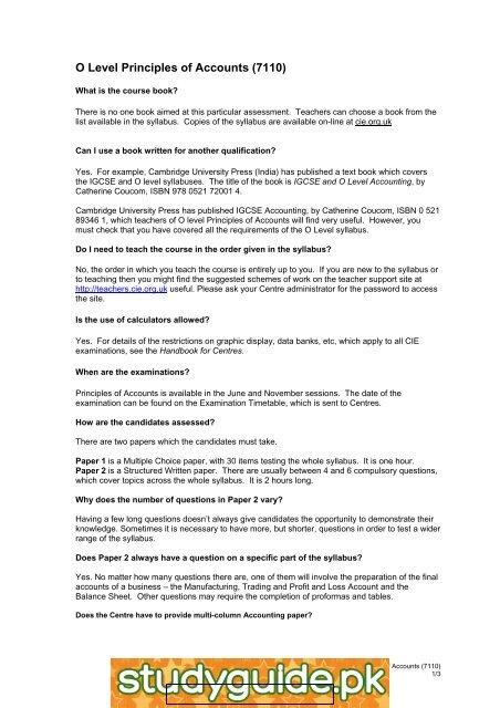 IGCSE Accounting 0452 StudyGuide PK