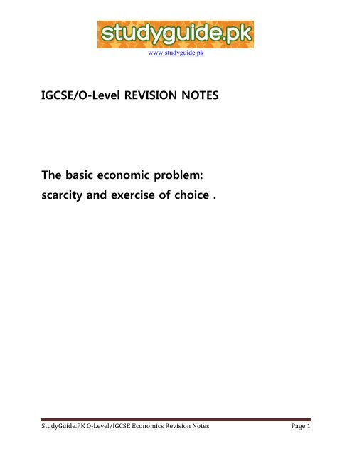 IGCSE/O-Level REVISION NOTES The basic     - StudyGuide PK