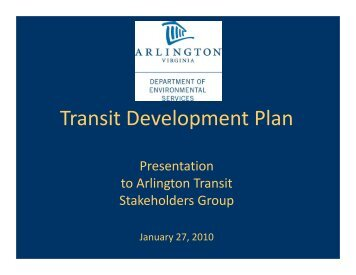 Transit Development Plan Presentation to Arlington Transit ...